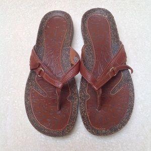 Teva | Ventura Brick Red Leather Slip On Sandals